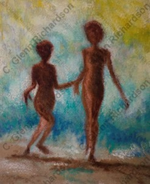Artwork by C. Glenn Richardson - <b>64 • Silohoutte on the Beach</b><br />Oil on Canvas<br />(20